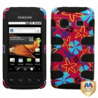 Samsung Galaxy Prevail Flower Flake/Black Fishbone Phone Protector Cover