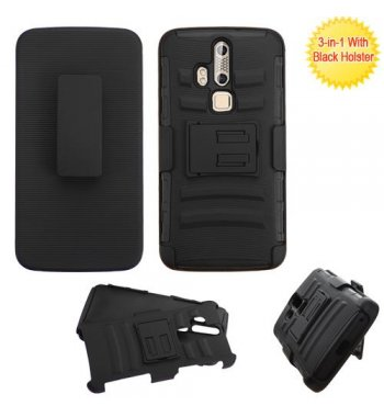 ZTE Axon Pro Black/Black Advanced Armor Stand Case with Black Holster