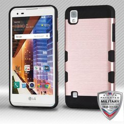 LG X Style / Tribute HD Rose Gold/Black Brushed Hybrid Case Military Grade