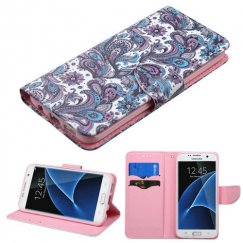 Samsung Galaxy S7 Edge Purple European Flowers Wallet
