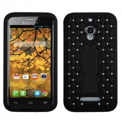 Alcatel One Touch Fierce Black/Black Symbiosis Stand Case with Diamonds