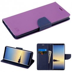 Samsung Galaxy Note 8 Purple Pattern/Dark Blue Liner wallet with Card Slot