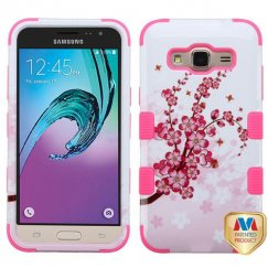 Samsung Galaxy J3 Spring Flowers/Electric Pink Hybrid Case