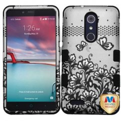 ZTE Grand X Max 2 Black Lace Flowers 2D Silver/Black Hybrid Case