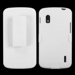 LG Nexus 4 Rubberized Solid Ivory White Hybrid Holster