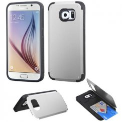 Samsung Galaxy S6 Silver Inverse Advanced Armor Stand Case with Card Wallet