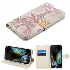 LG K10 Eiffel Tower Diamante Wallet with Diamante Belt