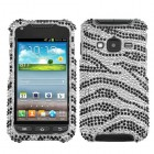 Samsung Galaxy Rugby Pro Black Zebra Skin Diamante Case