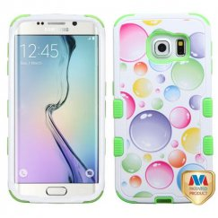 Samsung Galaxy S6 Edge Rainbow Bigger Bubbles/Electric Green Hybrid Case