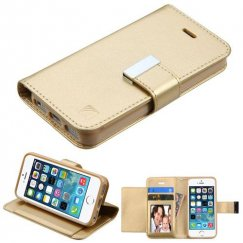 Apple iPhone 5/5s Gold/Gold PU Leather Wallet with extra card slots