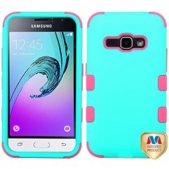 Samsung Galaxy J1 Rubberized Teal Green/Electric Pink Hybrid Case