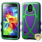 Samsung Galaxy S5 Rubberized Green/Dark Purple Fish Hybrid Protector Cover