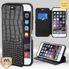 Apple iPhone 6 Plus Black Crocodile-Embossed Genuine Leather Wallet with Natural Black/Black Tray