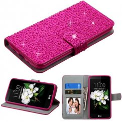 LG K7 Hot Pink Diamante Wallet