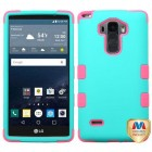 LG G Stylo Rubberized Teal Green/Electric Pink Hybrid Phone Protector Cover