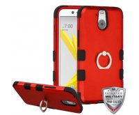 Titanium Red/Black Hybrid Phone Protector Cover [Military-Grade Certified] (with Metal Ring Stand)