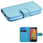Motorola Moto G Light Blue Diamonds Book-Style Wallet (with Card Slot)