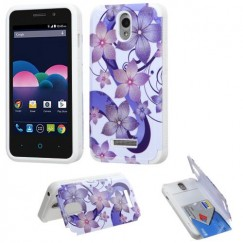 ZTE Obsidian Purple Hibiscus Flower Romance /White Advanced Armor Stand Case with Card Wallet