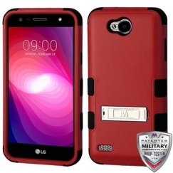 LG X Power 2 Natural Red/Black Hybrid Case with Stand Military Grade