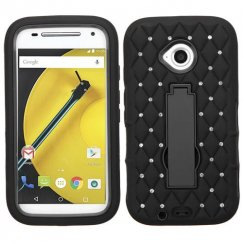 Motorola Moto E 2nd Gen Black/Black Symbiosis Stand Case with Diamonds