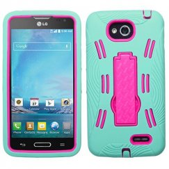 LG Optimus L90 Hot Pink/Sky Blue Symbiosis Stand Case