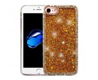 Apple iPhone 7 Gold Quicksand (Stars) Glitter Hybrid Protector Cover (with Diamonds)