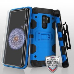 Samsung Galaxy S9 Plus Blue/Black 3-in-1 Storm Tank Hybrid Case Combo with Black Holster and Twin Screen Protectors Military Grade