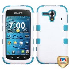 Kyocera Hydro Edge Ivory White/Tropical Teal Hybrid Case