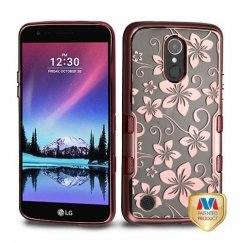 LG K10 Metallic Rose Gold/Electroplating Rose Gold Hibiscus Flower (T-Clear) Panoview Hybrid Case