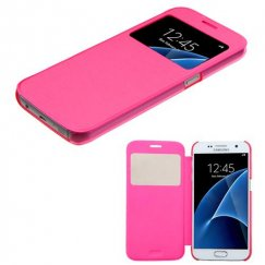 Samsung Galaxy S7 Hot Pink Silk Texture Wallet with Transparent Frosted Tray