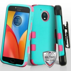 Motorola Moto E4 Plus Rubberized Teal Green/Electric Pink Hybrid Case with Black Horizontal Holster