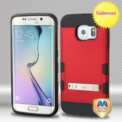 Samsung Galaxy S6 Edge Titanium Red/Black Hybrid Case with Stand