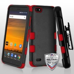 Natural Black/Red Hybrid Phone Case with Black Horizontal Holster