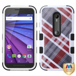 Motorola Moto G 3rd Gen Maroon/Gray Diagonal Plaid/Black Hybrid Case