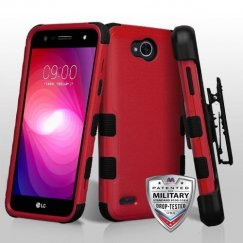 LG X Power 2 Natural Red/Black Hybrid Case Military Grade with Black Horizontal Holster