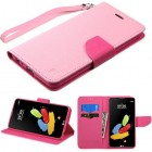 LG G Stylus 2 Pink Pattern/Hot Pink Liner Wallet (with Lanyard)
