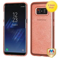 Samsung Galaxy S8 Transparent Rose Gold Sheer Glitter Premium Candy Skin Cover