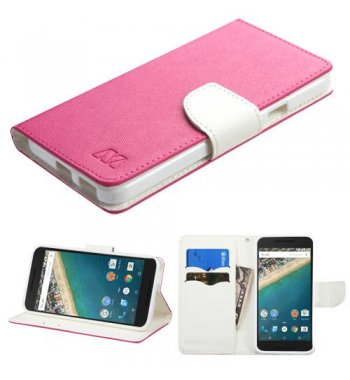 LG Nexus 5X Hot Pink Pattern/White Liner wallet with Card Slot
