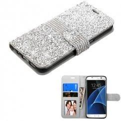 Samsung Galaxy S7 Edge Silver Mini Crystals with Silver Belt Wallet