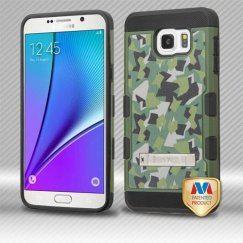 Samsung Galaxy Note 5 Geometric Camouflage/Black Hybrid Case with Stand