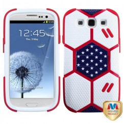Samsung Galaxy S3 White/Red Goalkeeper Hybrid Case with Sapphire Blue Stand