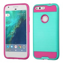 Google Pixel XL Teal Green/Hot Pink Brushed Hybrid Case