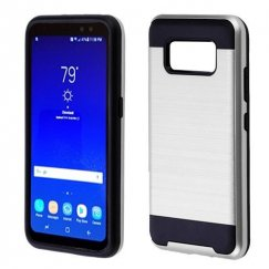 Samsung Galaxy S8 Active Silver/Black Brushed Hybrid Case