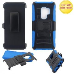 Samsung Galaxy S9 Plus Black/Blue Advanced Armor Stand Case with Black Holster