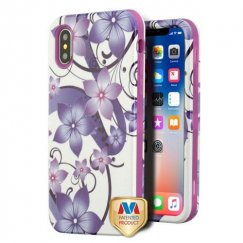 Apple iPhone X Purple Hibiscus Flower Romance/Electric Purple Hybrid Case