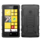 Nokia Lumia 520 Black/Black Car Armor Stand Case - Rubberized