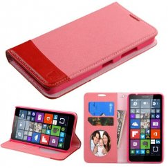 Nokia Lumia 640 Pink/Red wallet with Card Slot