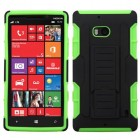 Nokia Lumia Icon Black/Electric Green Car Armor Stand Protector Cover (Rubberized)