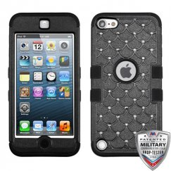 Apple iPod Touch (5th Generation) Natural Black/Black Hybrid Case with Diamonds