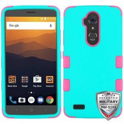 ZTE Blade Max 3 / Max XL Rubberized Teal Green/Electric Pink Hybrid Case Military Grade